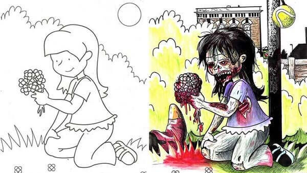 omalovanky ktere vypadaji jinak creepycon darktown creepypasty děsivé obrázky horror zombie