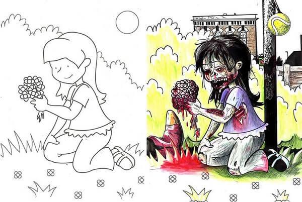 omalovanky ktere vypadaji jinak creepycon darktown creepypasty děsivé obrázky horror